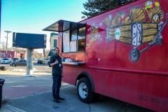 Stephen enjoying The Big Red Wagon Food Truck
